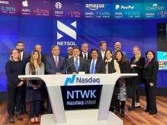 NEW YORK:A group photograph of the Ambassador of Pakistan to USA, Dr. Asad Majeed Khan at the Nasdaq closing bell ceremony with Netsol CEO Najeeb Ghauri.