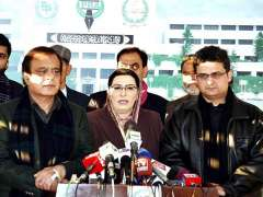 ISLAMABAD:Special Assistant to the Prime Minister on Information and Broadcasting, Dr. Firdous Ashiq Awan talking to media along with Leader of the House in Senate, Syed Shibli Faraz & Senator Faisal Javed.