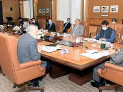 Islamabad: President, Dr. Arif Alvi chairing a meeting on E-Commerce at Aiwan-e-Sadr.-