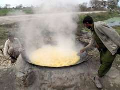 SIALKOT:Farmers boiling sugarcane juice for preparation of gur at their field.
