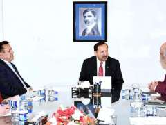ISLAMABAD:Federal Secretary Ministry of Information and Broadcasting, Akbar Hussain Durrani chairing a meeting at PTV Headquarters.