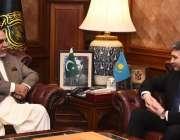 کراچی، گورنر سندھ عمران اسماعیل سے قازقستان کے سفیر یرزہان کسٹافین ..