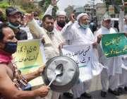 لاہور، شادی ہالز کے مالکان اپنے مطالبات کے حق میں احتجاج کر رہے ہیں۔