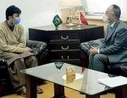 اسلام آباد، وفاقی وزیر مراد سعید سے چینی سفیر نونگ رونگ ملاقات کر رہے ..