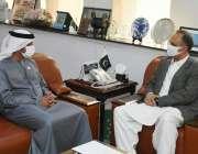 اسلام آباد، وفاقی وزیر توانائی عمر ایوب خان سے متحدہ عرب امارات کےسفیر ..