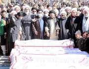 کوئٹہ، سانحہ مچھ کے شہداء کی نماز جنازہ ادا کی جا رہی ہے۔