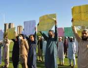 اسلام آباد، جمعیت طلبہ اسلامی کے کارکن نیشنل پریس کلب کے باہر اپنے ..