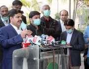 کراچی، وزیر اطلاعات و بلدیات سندھ ناصر حسین شاہ سندھ اسمبلی کے باہر ..