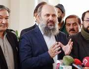 اسلام آباد، وزیراعلی بلوچستان جام کمال خان میڈیا سے گفتگو کر رہے ہیں۔