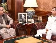 کراچی، گورنر سندھ عمران اسماعیل سے کمانڈر کوسٹ وائس ایڈمرل زاہد الیاس ..