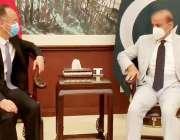 اسلام آباد، مسلم لیگ ن کے صدر شہباز شریف سے چین کے سفیر ملاقات کر رہے ..