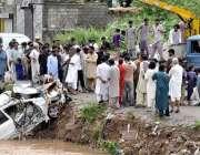 اسلام آباد، مقامی انتظامیہ سیکٹر ای الیون میں سیلابی پانی میں پھنسی ..