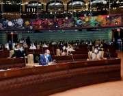 کراچی، وزیراعلی سندھ مراد علی شاہ سندھ اسمبلی کے اجلاس سے خطاب کر رہے ..