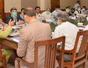 کراچی، وفاقی وزیر ریلوے محمد اعظم خان سواتی ڈی ایس آفس میں اجلاس کی ..