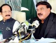 کراچی، وفاقی وزیر داخلہ شیخ رشید احمد ڈی ایچ اے میں نادرا میگا سینٹر ..
