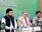 اسلام آباد، وفاقی وزیر خزانہ شوکت ترین دیگر وزراء کے ہمراہ پریس کانفرنس ..