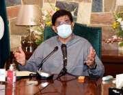 کراچی، وزیراعلی سندھ سید مراد علی شاہ وزیراعلی ہاؤس میں پریس کانفرنس ..