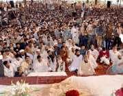 اسلام آباد، وزیر داخلہ شیخ رشید عیدگاہ میں عوامی اجتماع سے خطاب کر ..