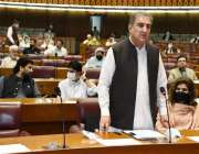 اسلام آباد، وزیر خارجہ شاہ محمود قریشی قومی اسمبلی اجلاس سے خطاب کر ..