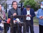 اسلام آباد، وفاقی وزیر اطلاعات و نشریات سینیٹر شبلی فراز میڈیا سے گفتگو ..