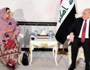 بغداد، عراقی وزیر خارجہ فواد حسین سے وفاقی وزیر دفاعی پیداوار زبیدہ ..