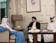 ابوظہبی، پشاور زلمی کے چئیرمین جاوید آفریدی متحدہ عرب امارات کے وزیر ..