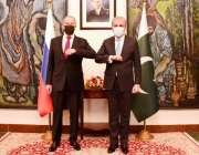 اسلام آباد، وزیر خارجہ شاہ محمود قریشی وزارت خارجہ میں روسی ہم منصب ..