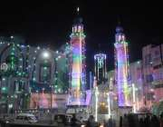 کراچی، 12 ربیع الاول کی آمد کے موقع پر بخاری شاہ کے مزار کو برقی قمقموں ..