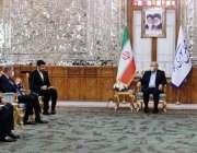 تہران، وزیر خارجہ شاہ محمود قریشی پارلیمنٹ ہاؤس میں سپیکر ایران پارلیمنٹ ..