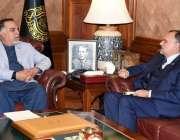 کراچی، گورنر سندھ عمران اسماعیل سے وفاقی وزیر ریلوے اعظم خان سواتی ..