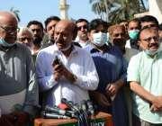 کراچی، پیپلز سیکرٹریٹ میں پاکستان پیپلز پارٹی سندھ کے صدر نثار احمد ..