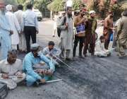 لاہور، نابینا افراد پریس کلب کے باہر اپنے مطالبات کے حق میں احتجاج ..