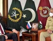 راولپنڈی، آرمی چیف جنرل قمر جاوید باجوہ سے روسی وزیر خارجہ سرگئی لاروف ..