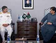 کراچی، وزیراعلی سندھ مراد علی شاہ سے کمانڈر کوسٹ وائس ایڈمرل زاہد الیاس ..