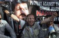 ملک بھرمیں صحافیوں کا حامدمیرپرحملے کیخلاف احتجاج جاری،خون کے آخری ..
