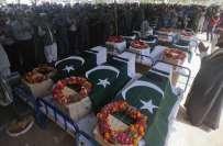 کراچی ایئر پورٹ حملے میں شہید ہونے والے اہلکاروں کی نماز جناہ ادا کر ..