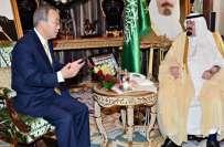 بان کی مون کی سعودی فرمانروا شاہ عبدللہ سے ملاقات،غزہ میں جنگ روکنے ..