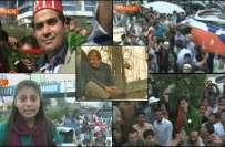 دھرنے کے شرکاء سے عمران خان کے خطاب کے بعد تحریک انصاف کے کارکنوں کی ..