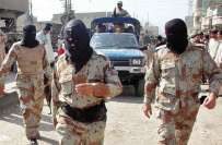 پاکستان رینجرز نے کراچی کے پانچوں اضلاع میں سڑکوں اور گلیوں میں لگے ..