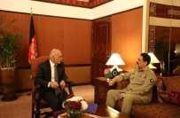 آرمی چیف کی افغان صدر سے ملاقات ٗ دہشتگردی کے مشترکہ مسئلے سے ملکر نمٹنے ..