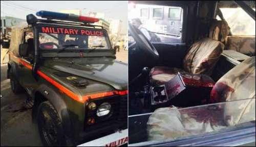 کراچی : ملٹری پولیس کی گاڑی پر ..