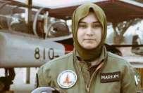شہید خاتون پائلٹ مریم مختیار کیلئے تمغہ بسالت کا اعلان