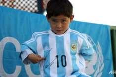 ارجنٹائنی سٹار فٹبالر لیونل میسی نے5 سالہ افغان مداح کو آٹو گراف وال ..