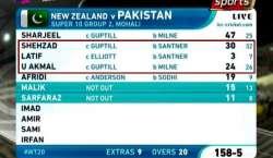 ورلڈ ٹی ٹونٹی ،نیوزی لینڈ نے پاکستان کو22 رنز سے ہرا کر سیمی فائنل میں ..