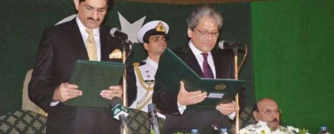 سندھ کابینہ کے9وزراء نے حلف اٹھا لیاہے