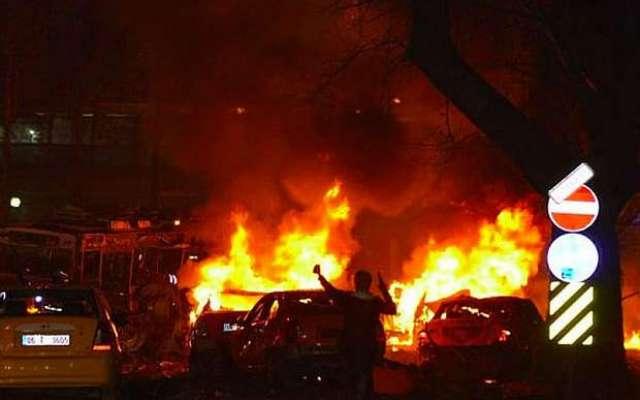 ترکی ، انقرہ میں کار بم دھماکے میں27 افراد ہلاک، 75زخمی ، متعدد کی حالت ..