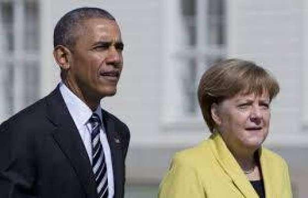 جرمن چانسلر کی براک اوباما سے عشائیہ پر ملاقات، بین الاقوامی سیاسی ..