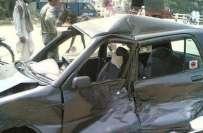 فیصل آباد ،تیز رفتار کار اور موٹر سائیکل میں تصادم' حادثہ میں موٹر ..