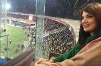 ریحام خان پاکستان سپر لیگ کا فائنل دیکھنے کے لیے قذافی سٹیڈیم پہنچ ..