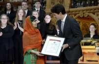 ملالہ یوسف زئی کی کنیڈا کی پارلیمنٹ میں آمد ، کنیڈین وزیر اعظم سمیت ..